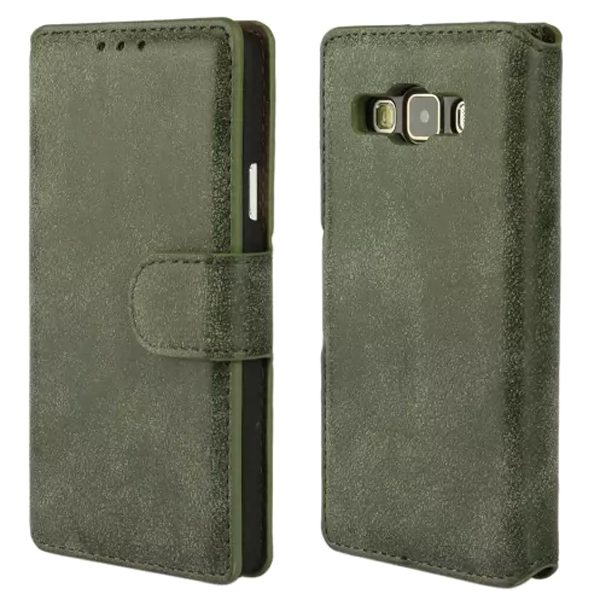 Retro Frosted Style PU Wallet Leather Flip Cover for Samsung Galaxy A3 (Army Green)