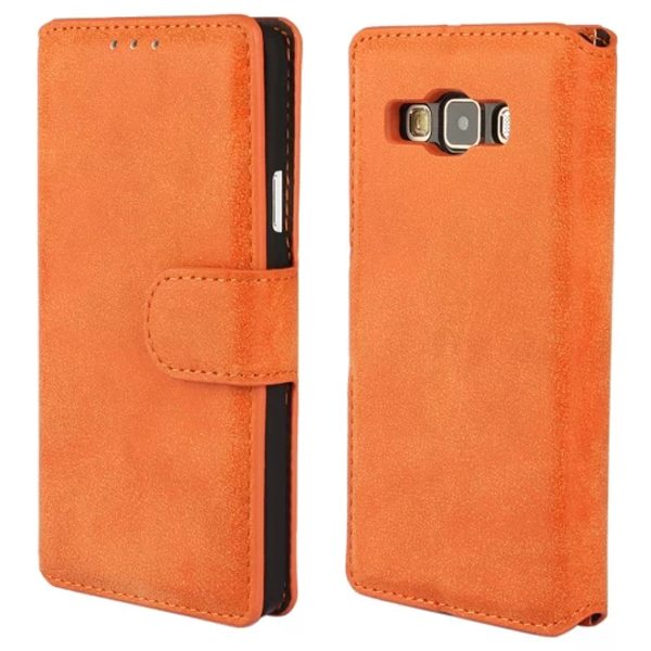 Retro Frosted Style PU Wallet Leather Flip Cover for Samsung Galaxy A3 (Orange)