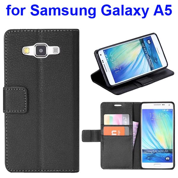 Protective Hybrid PU+ TPU Magnetic Wallet Case for Samsung Galaxy A5 with Holder (Black)