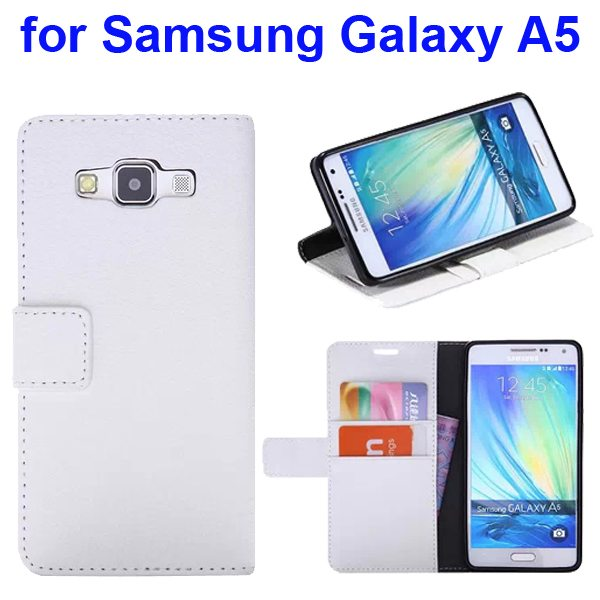 Protective Hybrid PU+ TPU Magnetic Wallet Case for Samsung Galaxy A5 with Holder (White)