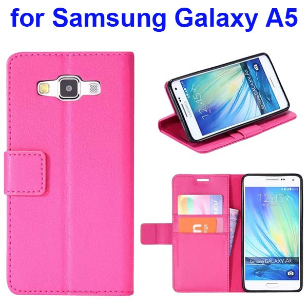 Protective Hybrid PU+ TPU Magnetic Wallet Case for Samsung Galaxy A5 with Holder (Hot Pink)