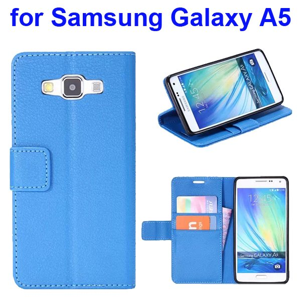 Protective Hybrid PU+ TPU Magnetic Wallet Case for Samsung Galaxy A5 with Holder (Blue)