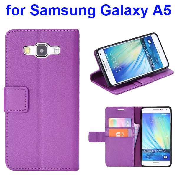Protective Hybrid PU+ TPU Magnetic Wallet Case for Samsung Galaxy A5 with Holder (Purple)