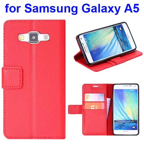 Protective Hybrid PU+ TPU Magnetic Wallet Case for Samsung Galaxy A5 with Holder (Red)