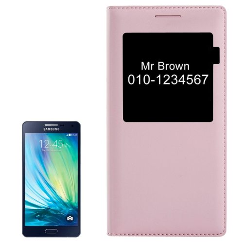 Litchi Texture Folio Flip Leather Cover for Samsung Galaxy A5 with Call Display ID (Pink)