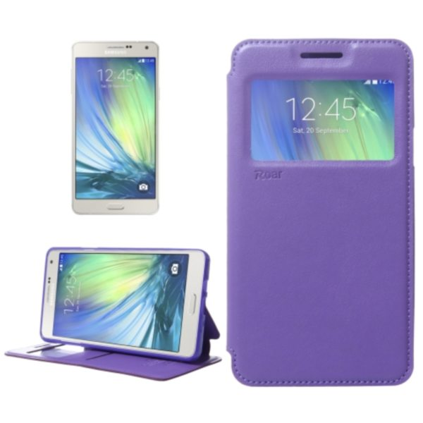 Crazy Horse Texture Flip Stand PU Leather Wallet Case for Samsung Galaxy A7 (Purple)
