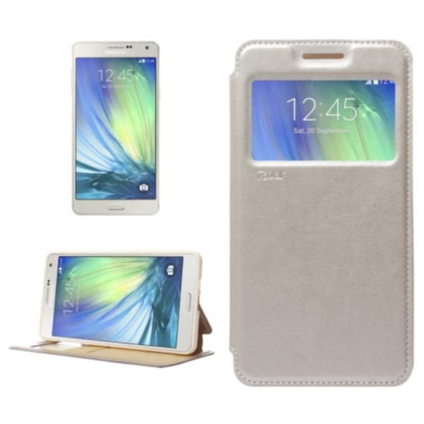 Crazy Horse Texture Flip Stand PU Leather Wallet Case for Samsung Galaxy A7 (Beige)