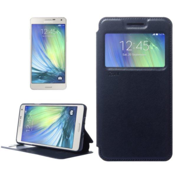 Crazy Horse Texture Flip Stand PU Leather Wallet Case for Samsung Galaxy A7 (Dark Blue)