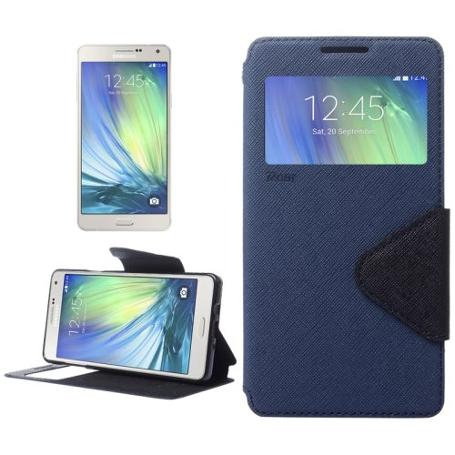 Cross Texture Flip Leather Wallet Case for Samsung Galaxy A7 with Caller Display Window (Dark Blue)