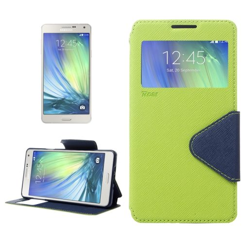 Cross Texture Flip Leather Wallet Case for Samsung Galaxy A7 with Caller Display Window (Green)