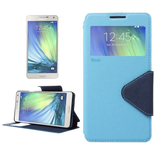 Cross Texture Flip Leather Wallet Case for Samsung Galaxy A7 with Caller Display Window (Blue)