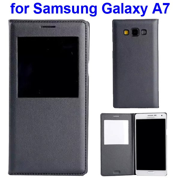 Official Type Flip PU Leather Case Cover for Samsung Galaxy A7 with Caller ID Display Window (Grey)