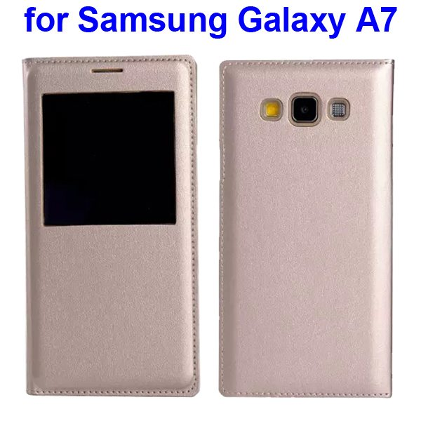 Official Type Flip PU Leather Case Cover for Samsung Galaxy A7 with Caller ID Display Window (Beige)