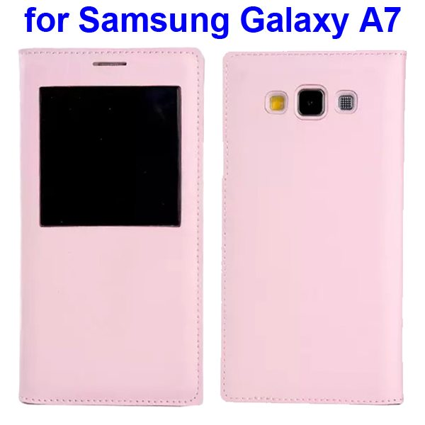Official Type Flip PU Leather Case Cover for Samsung Galaxy A7 with Caller ID Display Window (Pink)
