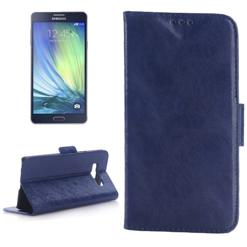 Oil Skin Texture Leather Case for Samsung Galaxy A7 with Holder & Card Slots (Blue)