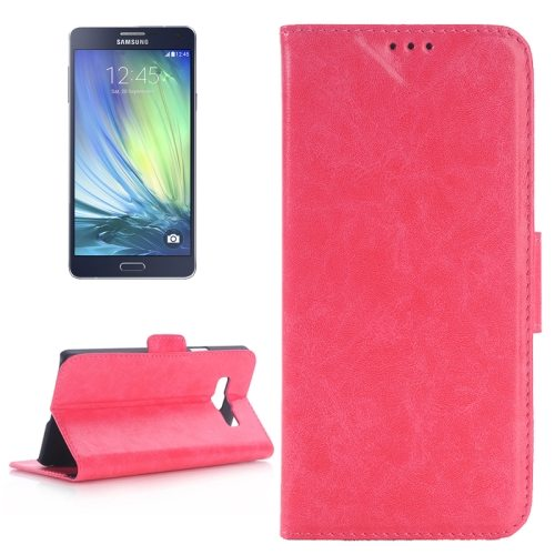 Oil Skin Texture Leather Case for Samsung Galaxy A7 with Holder & Card Slots (Magenta)