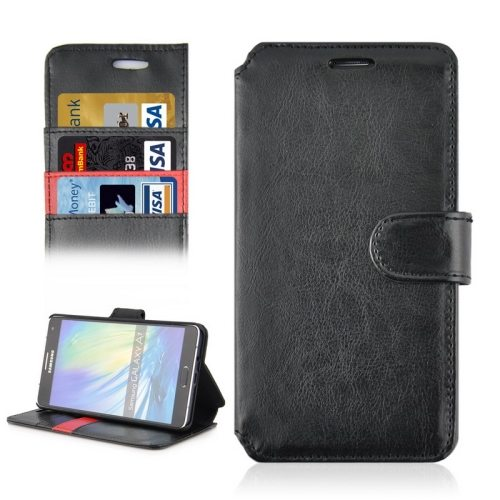 Crazy Horse Texture Flip Magnetic Wallet Leather Cover for Samsung Galaxy A7 (Black)