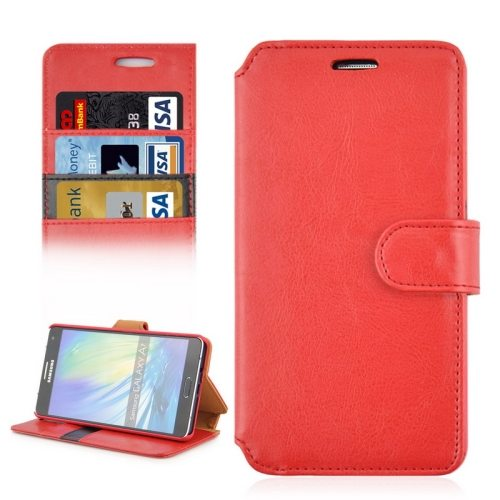 Crazy Horse Texture Flip Magnetic Wallet Leather Cover for Samsung Galaxy A7 (Red)