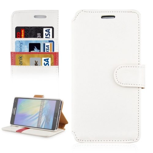 Crazy Horse Texture Flip Magnetic Wallet Leather Cover for Samsung Galaxy A7 (White)