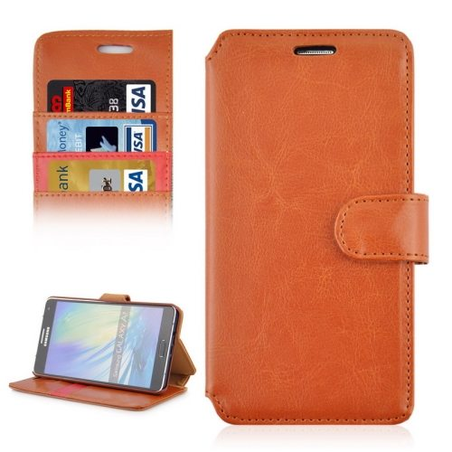 Crazy Horse Texture Flip Magnetic Wallet Leather Cover for Samsung Galaxy A7 (Brown)