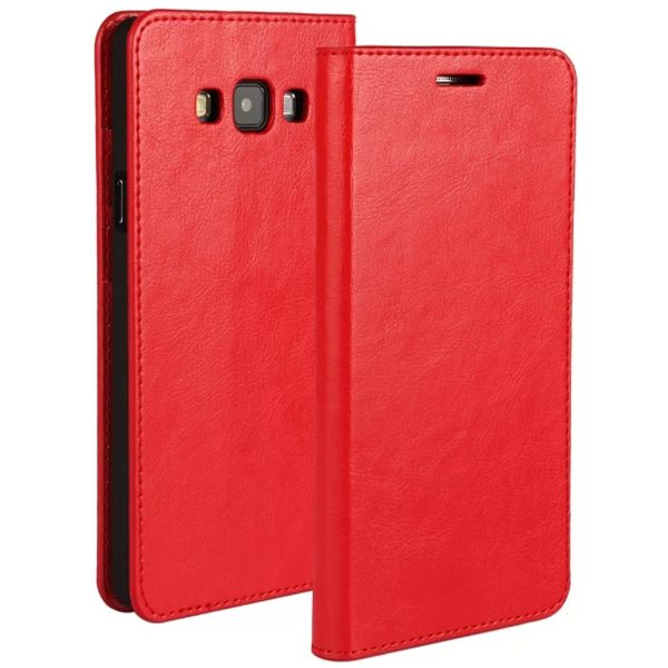 Crazy Horse Texture Wallet Flip Genuine Leather Case for Samsung Galaxy A7 with Holder (Red)