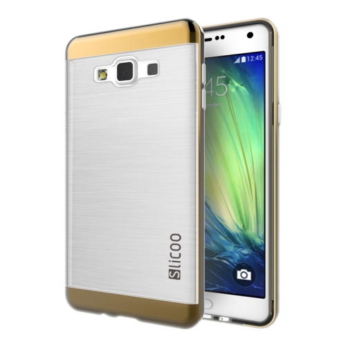 Electroplating Style Brushed Texture TPU and PC Hybrid Protective Cover for Samsung Galaxy A7 (Coffee)