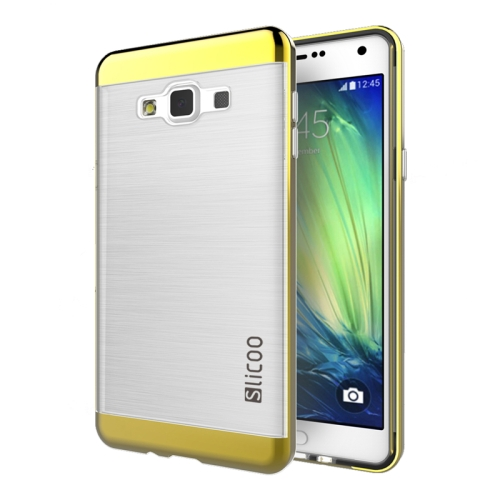 Electroplating Style Brushed Texture TPU and PC Hybrid Protective Cover for Samsung Galaxy A7 (Gold)