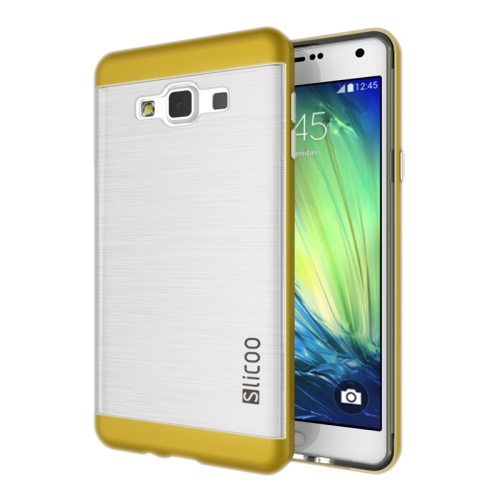 Electroplating Style Brushed Texture TPU and PC Hybrid Protective Cover for Samsung Galaxy A7 (Yellow)