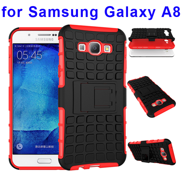 2 In 1 Pattern Belt Clip Rugged Kickstand Silicone and PC Hybrid Case for Samsung Galaxy A8 (Red)