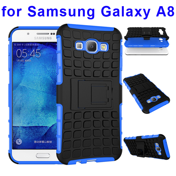 2 In 1 Pattern Belt Clip Rugged Kickstand Silicone and PC Hybrid Case for Samsung Galaxy A8 (Blue)
