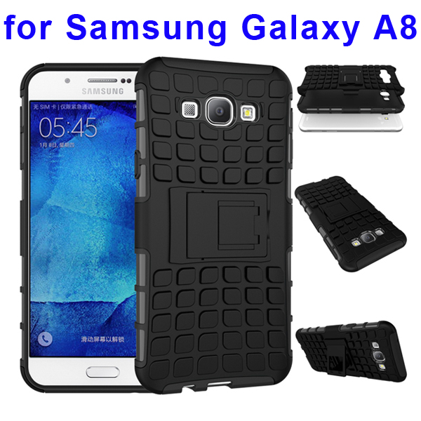 2 In 1 Pattern Belt Clip Rugged Kickstand Silicone and PC Hybrid Case for Samsung Galaxy A8 (Black)