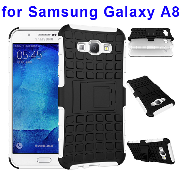 2 In 1 Pattern Belt Clip Rugged Kickstand Silicone and PC Hybrid Case for Samsung Galaxy A8 (White)