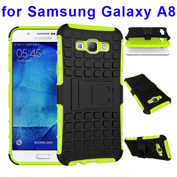 2 In 1 Pattern Belt Clip Rugged Kickstand Silicone and PC Hybrid Case for Samsung Galaxy A8 (Lime)