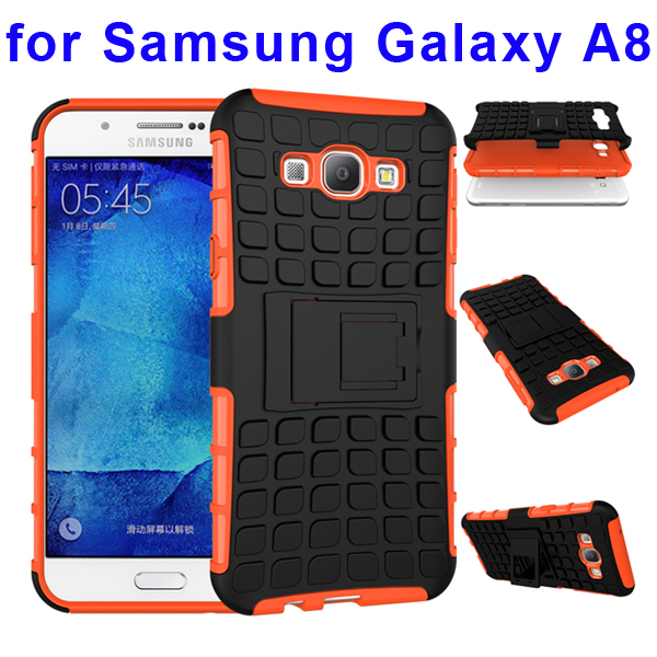 2 In 1 Pattern Belt Clip Rugged Kickstand Silicone and PC Hybrid Case for Samsung Galaxy A8 (Orange)