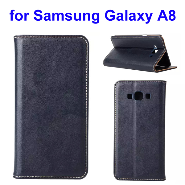 Simple Design Wallet Style Genuine Leather Case for Samsung Galaxy A8 (Dark Blue)