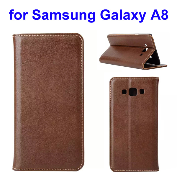 Simple Design Wallet Style Genuine Leather Case for Samsung Galaxy A8 (Brown)