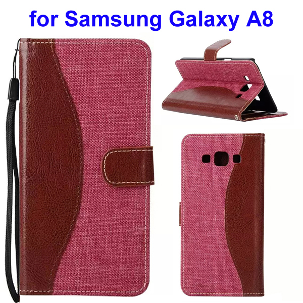 2-Tone Color Denim Texture Flip Stand Wallet Leather Case for Samsung Galaxy A8 (Brown and Red)