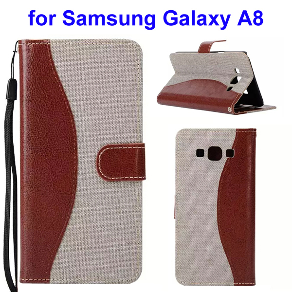 2-Tone Color Denim Texture Flip Stand Wallet Leather Case for Samsung Galaxy A8 (Brown and White)