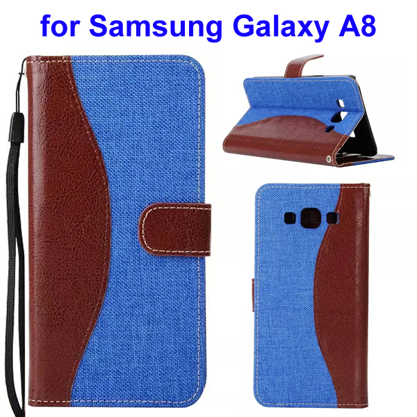 2-Tone Color Denim Texture Flip Stand Wallet Leather Case for Samsung Galaxy A8 (Brown and Blue)