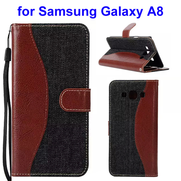 2-Tone Color Denim Texture Flip Stand Wallet Leather Case for Samsung Galaxy A8 (Brown and Grey)