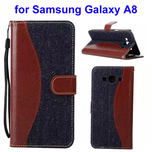 2-Tone Color Denim Texture Flip Stand Wallet Leather Case for Samsung Galaxy A8 (Brown and Black)
