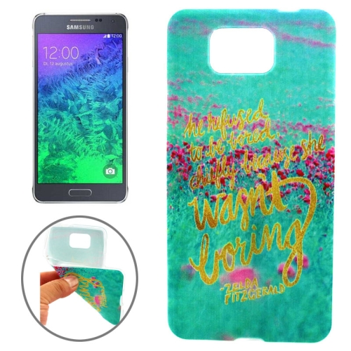 Ultrathin Colorful TPU Protective Case for Samsung Galaxy Alpha (Words and Grassplot Pattern)