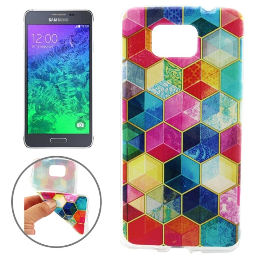 Ultrathin Colorful TPU Protective Case for Samsung Galaxy Alpha (Hexagons Pattern)