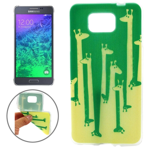 Ultrathin Colorful TPU Protective Case for Samsung Galaxy Alpha (Giraffes Pattern)