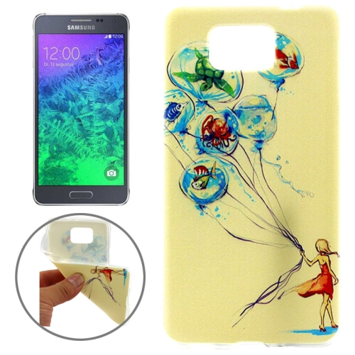 Ultrathin Colorful TPU Protective Case for Samsung Galaxy Alpha (Lady Wander in the Sandbeach Pattern)
