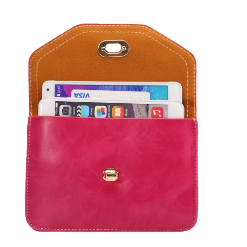 6.3 Inch Universal Crazy Horse Texture Shoulder Bag with Lock Design for iPhone 6 Plus etc (Rose)