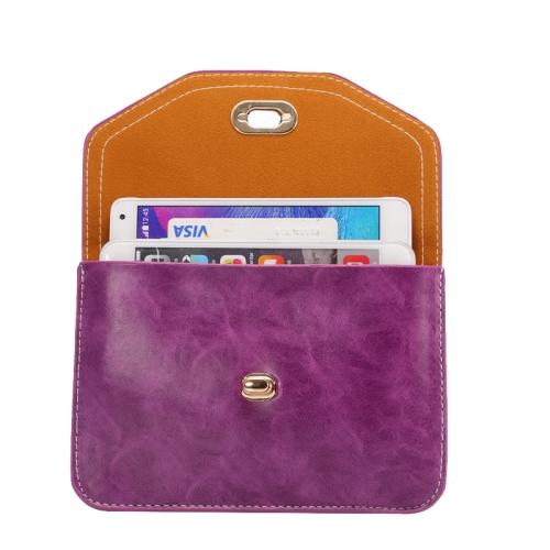 6.3 Inch Universal Crazy Horse Texture Shoulder Bag with Lock Design for iPhone 6 Plus etc (Purple)