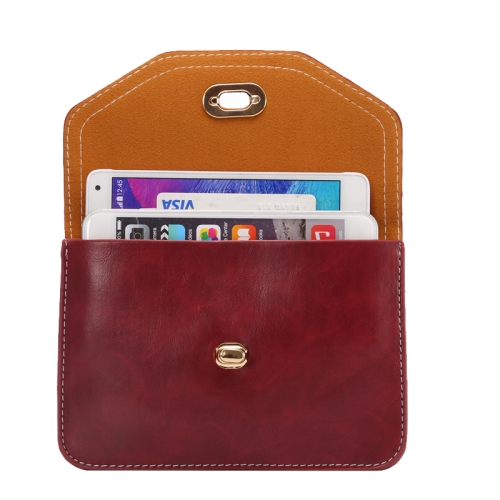 6.3 Inch Universal Crazy Horse Texture Shoulder Bag with Lock Design for iPhone 6 Plus etc (Red)