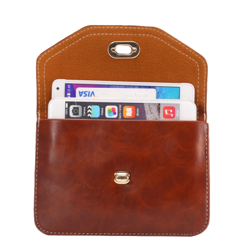 6.3 Inch Universal Crazy Horse Texture Shoulder Bag with Lock Design for iPhone 6 Plus etc (Brown)
