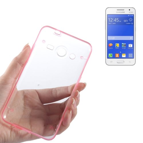 Ultrathin Luminous Frame Hard Transparent PC Back Case for Samsung Galaxy Core 2/ G355H (Pink)